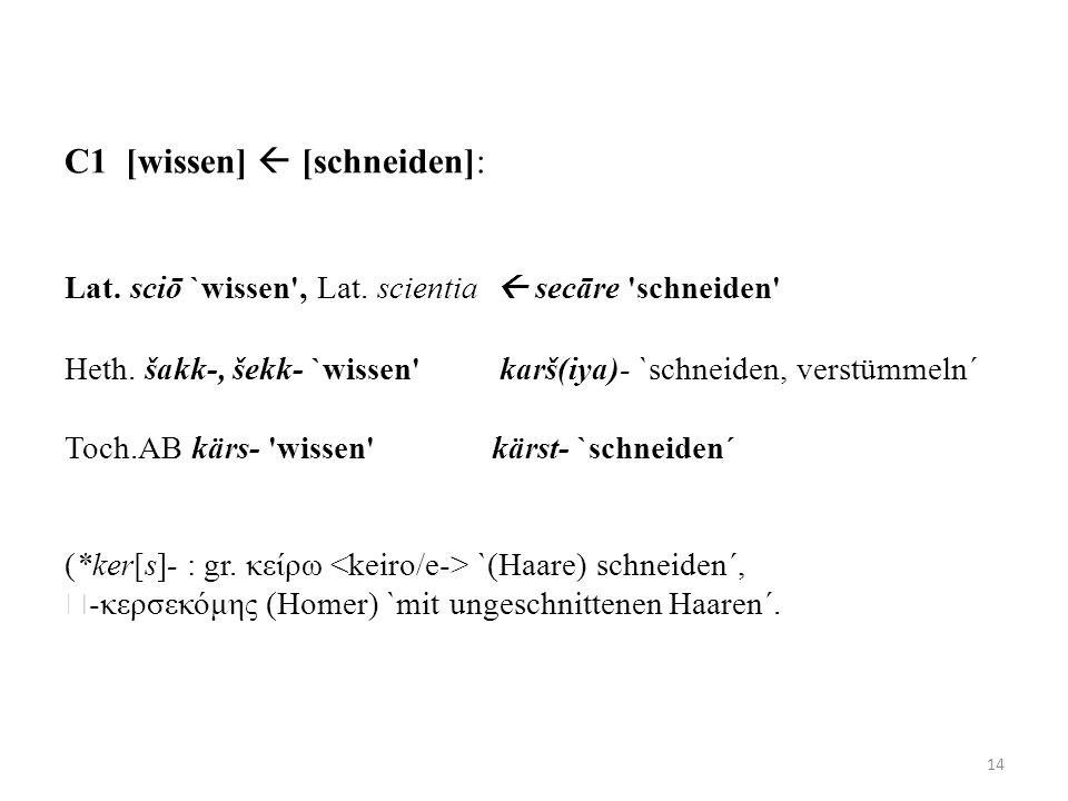 C1 [wissen]  [schneiden]: Lat. sciō `wissen , Lat